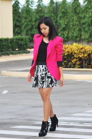 style district blazer - top - Forever 21 skirt - boots