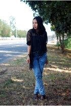 blue acid washed Mango jeans - black Aldo heels - black style district top - bla
