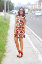 printed Forever 21 romper - red SM socks - Forever 21 sunglasses - Aldo ring