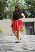 red Debenhams skirt - black t-shirt