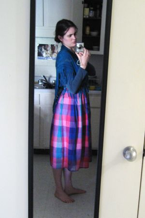 blue Wet Seal scarf - blue shirt - purple handmade skirt