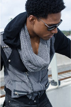 black Vip Collection jeans - heather gray calvin klein scarf - tawny bag