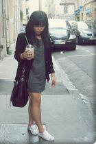 black Diapositive blazer - gray H&M dress - white H&M shoes - black H&M purse