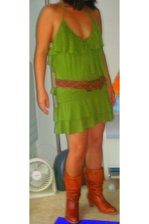 brown slouch boots Frye boots - green Miss Sixty dress - brown hollister belt