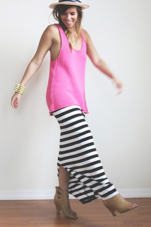black cotton elastic Stripes Maxi Skirt skirt
