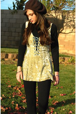 green Betsey Johnson dress - black Contempo leggings - brown Express hat