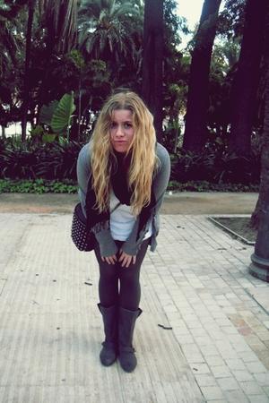 pull&bear sweater - H&M dress - pull&bear scarf - tights - Bershka boots - pull&