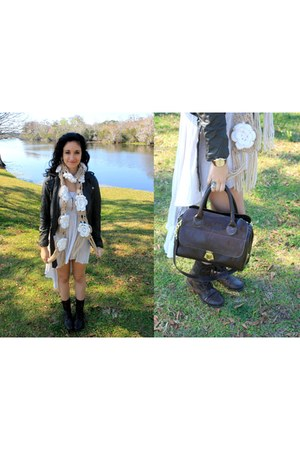 tan floral knitted Tillys scarf - dark brown combat Charlotte Russe boots