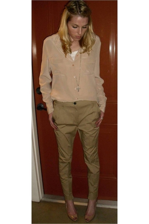 beige Equipment blouse - brown Zara pants - beige Christian Louboutin shoes