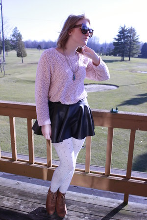 light pink oversized No Boundaries sweater - light blue polka dotted tights