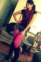 Wet Seal shirt - forever 21 scarf - Betsey Johnson tights - Wet Seal shoes - for