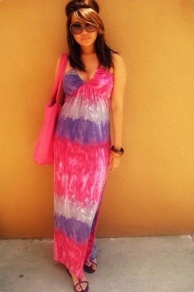 pink Wet Seal purse - pink H&M shoes - purple TJ Maxx dress