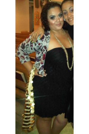 black torrid dress - gold bag - gold Forever 21 necklace - black Forever 21 acce