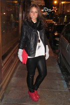 red bag - heather gray gloves - red boots - ruby red necklace - black scarf - bl
