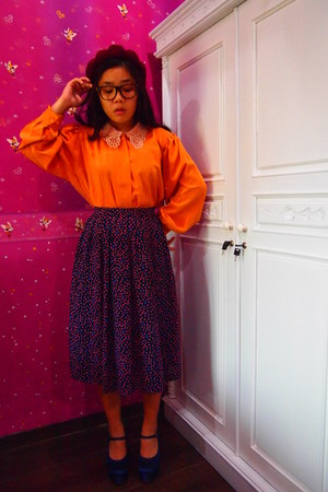 carrot orange down memory lanes blouse - printed down memory lanes skirt