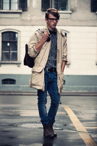 vintage coat - Gucci boots - H&M jeans - Cheap Monday shirt - vintage bag