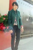 turquoise blue andre badi coat - black Levis jeans - pink Zara blouse