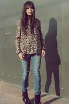 light brown Zara blouse - blue Sexy Jeans jeans - black heels