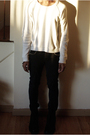 White-burberry-prorsum-sweater-black-bess-jeans-black-diy-bracelet