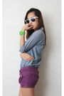 Purple-random-brand-shorts-sky-blue-faux-denim-top-chartreuse-bazaar-watch