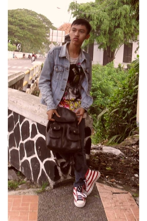 blue Mango jacket - pink Zara t-shirt - black Forever 21 accessories - red Dalla