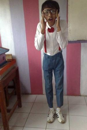 Boss shirt - tie - Permatex pants - Topman belt - adidas shoes - playboy glasses