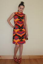 orange vintage dress - brown Penneys bag