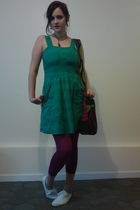 green Primark dress - pink Target tights - white hm shoes - pink self-made purse