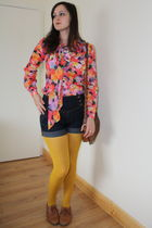 pink vintage blouse - blue shorts - gold hm tights - brown shoes - brown bag
