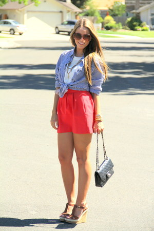 Forever 21 shirt - Chanel bag - Steve Madden wedges - Zara skirt