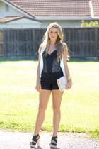 H&M bag - Bebe shorts - seychelles heels - BCBG blouse - Vedette bodysuit - Mich