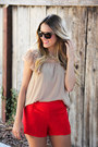 Nordstrom-flats-forever-21-shorts-zara-top-handmade-necklace-ysl-glasses