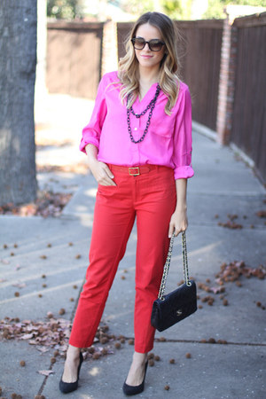 Tobi blouse - Chanel bag - Anthropologie pants - Elizabeth and James glasses