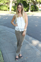 Urban Outfitters top - Juicy Couture glasses - J Brand pants - seychelles wedges