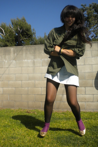 green jacket - blue merona dress - black DKNY tights - purple socks - gold shoes