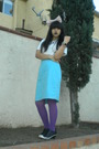 White-t-shirt-blue-nina-ricci-skirt-purple-dkny-tights-black-madden-girl-s