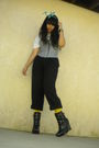 White-t-shirt-black-pants-black-aliceolivia-for-payless-boots-yellow-dkny-