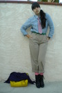 Purple-crafty-couture-cardigan-blue-shirt-beige-brothers-pants-black-fioni