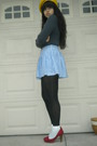 Gray-rubish-shirt-blue-necessary-objects-skirt-black-dkny-tights-white-soc