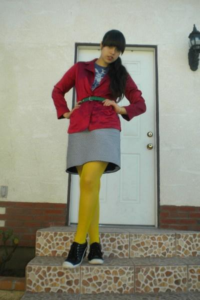 blue t-shirt - red Ralph Lauren shirt - black skirt - yellow tights - black shoe