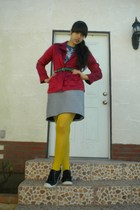 blue t-shirt - red Ralph Lauren shirt - black skirt - yellow tights - black shoe