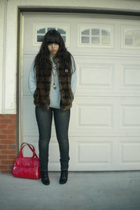brown Newport News vest - gray sweater - gray pants - black Fioni shoes - red ac