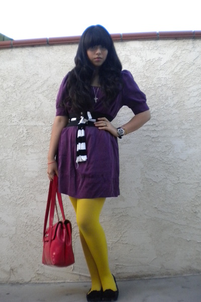 purple dress - yellow tights - black Sam&Libby shoes - red accessories