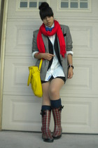 red Jones New York scarf - red Melrose Ave boots - gray blazer
