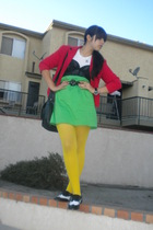 red blazer - black intimate - white t-shirt - green Ralph Lauren skirt - yellow