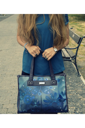 blue Carpisa bag - navy Zara jeans - blue Promod blouse