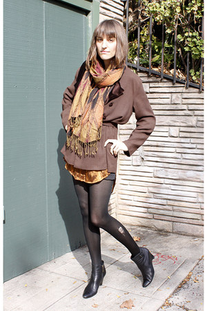 black wedges gifted boots - chocolate vintage jacket - vintage scarf
