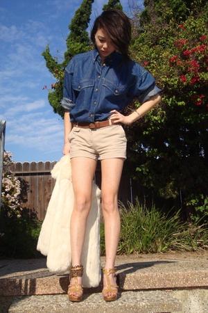 blue versace shirt - white jacket - brown wwwfetishismetsycom accessories