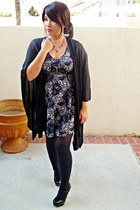 dark gray floral print Frenchi dress - black Nordstrom tights - black kohls cape