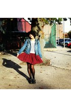 brick red brandy melville skirt - platforms Jeffrey Campbell shoes